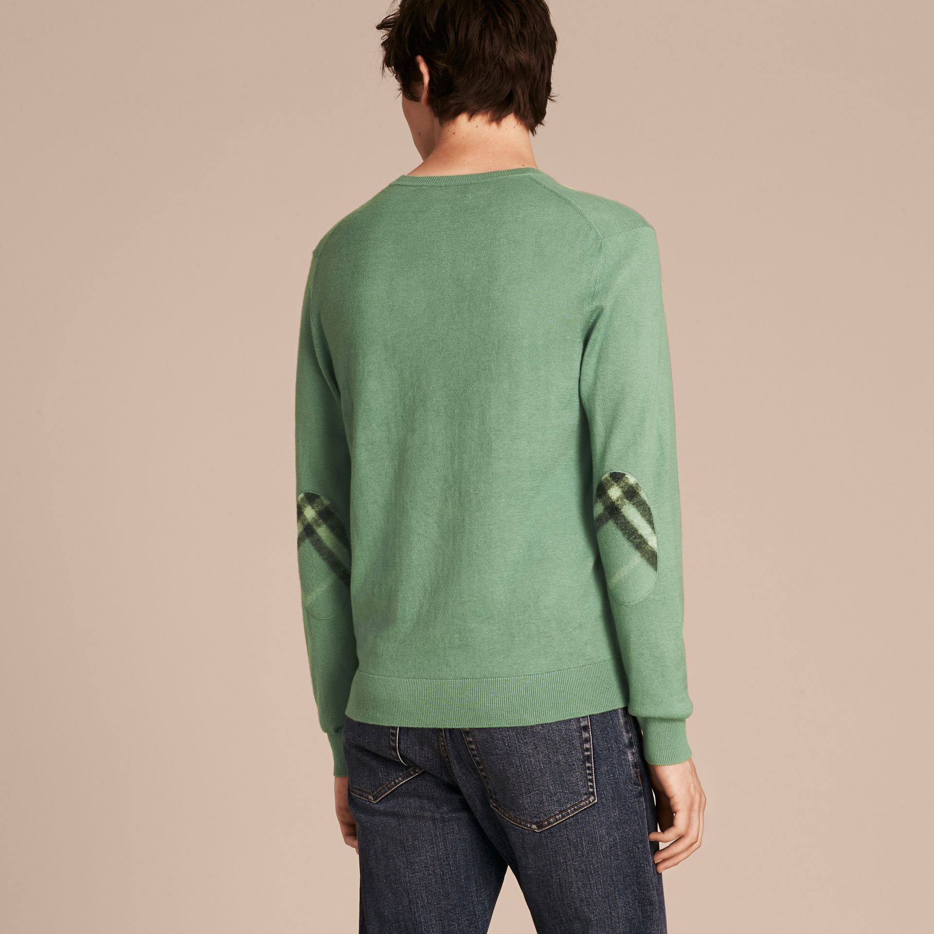 Eucalyptus green Check Trim Cashmere Cotton Sweater Eucalyptus Green - gallery image 3