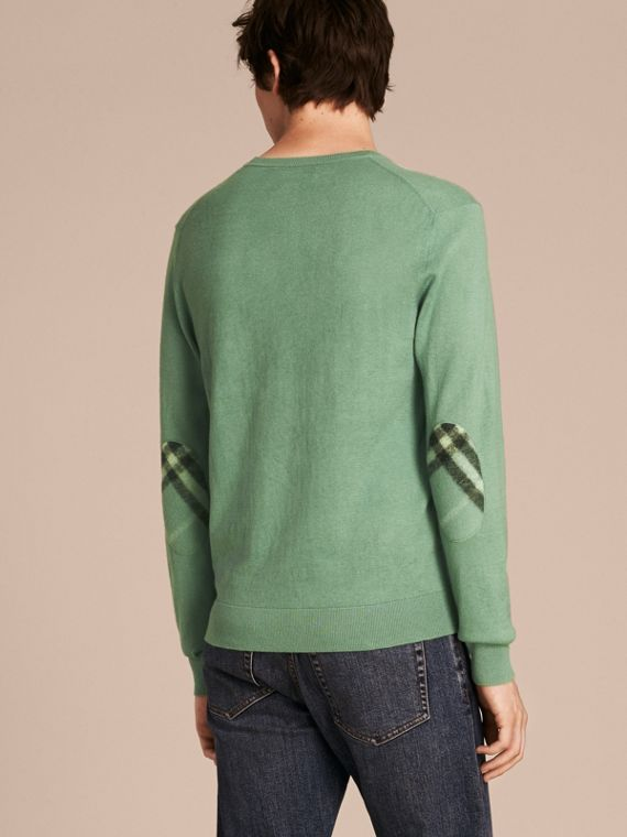Eucalyptus green Check Trim Cashmere Cotton Sweater Eucalyptus Green - cell image 2