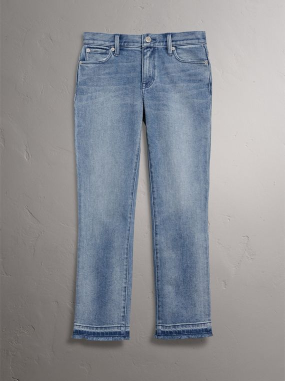 Slim Fit Frayed Cropped Jeans in Pale Blue - Women | Burberry Singapore - cell image 3