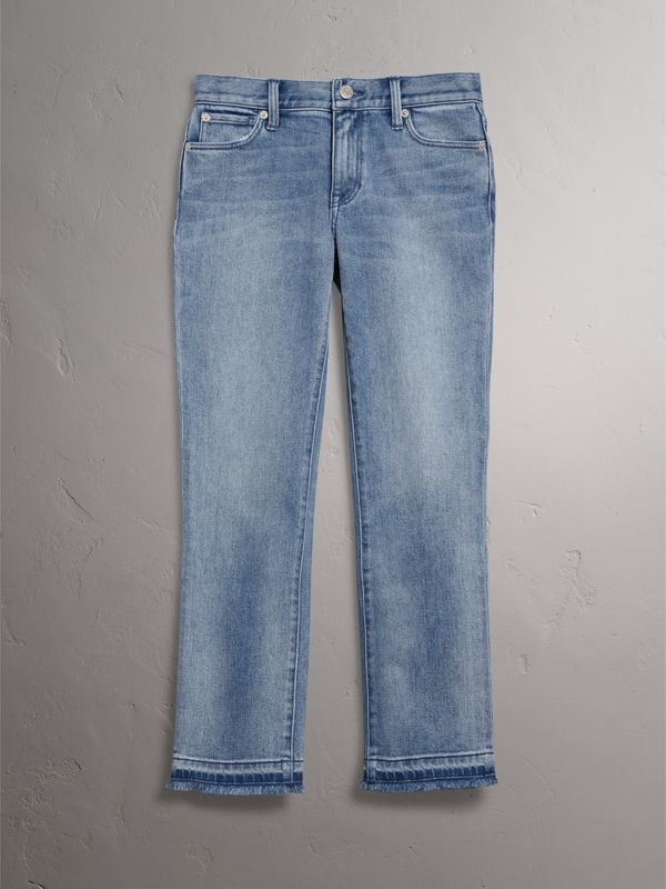Slim Fit Frayed Cropped Jeans in Pale Blue - Women | Burberry - cell image 3