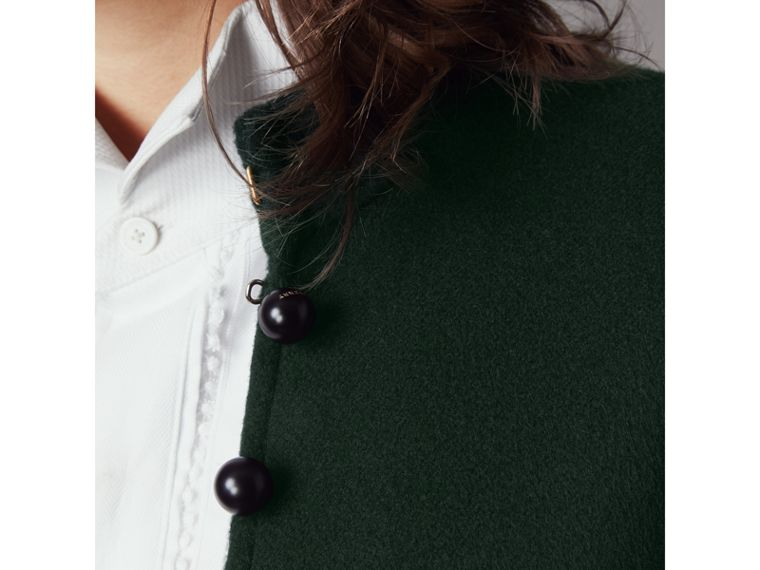Domed Button Camel Hair Wool Cape in Dark Pewter Blue - Women | Burberry Australia - cell image 1
