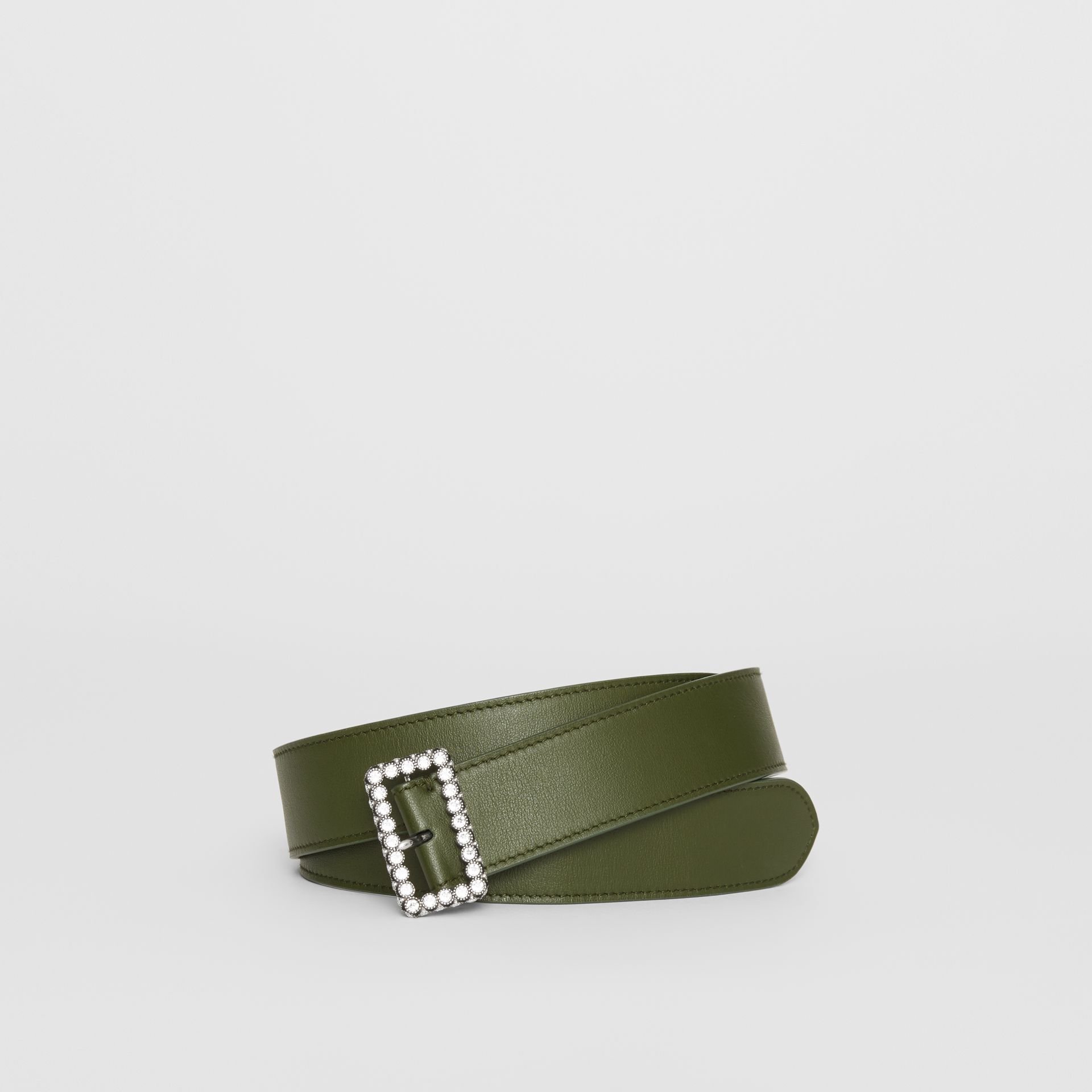 Leather Belt with Crystal Buckle in Dark Olive - Women | Burberry - gallery image 0