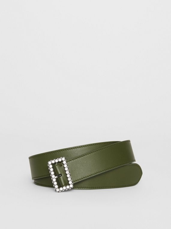 Leather Belt with Crystal Buckle in Dark Olive
