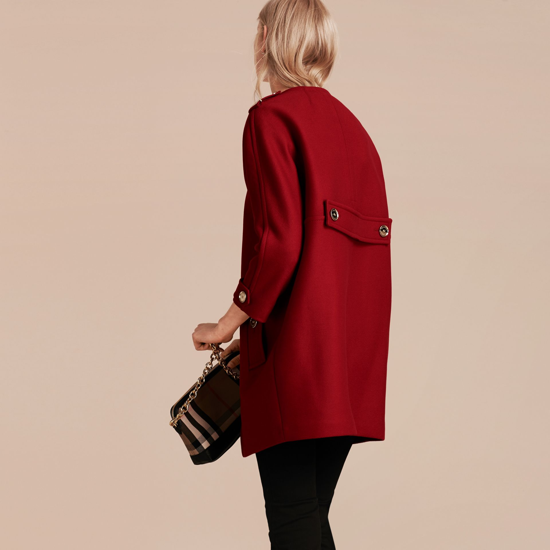 Parade red Technical Wool Cashmere Collarless Coat Parade Red - gallery image 3
