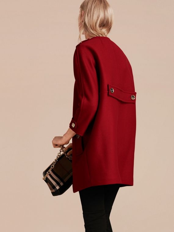 Parade red Technical Wool Cashmere Collarless Coat Parade Red - cell image 2