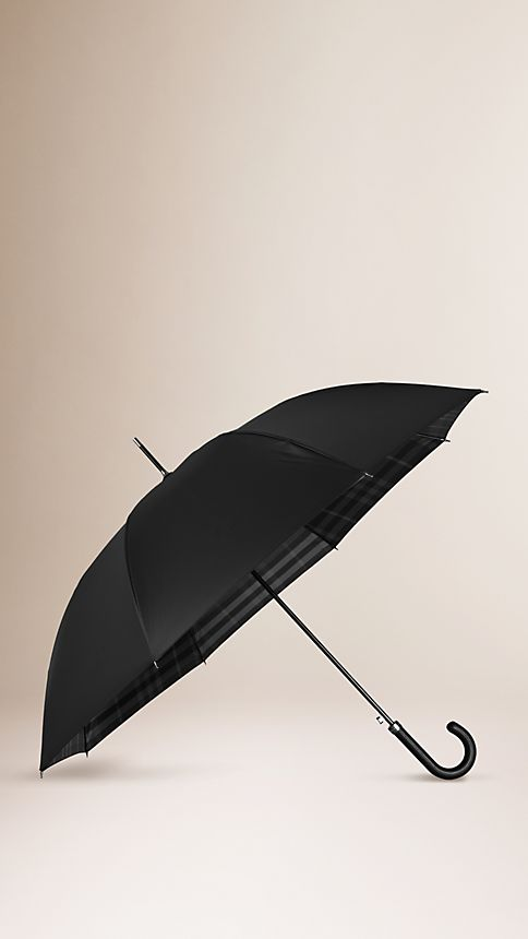 Black dark charcoal check Check-Lined Walking Umbrella - Image 1