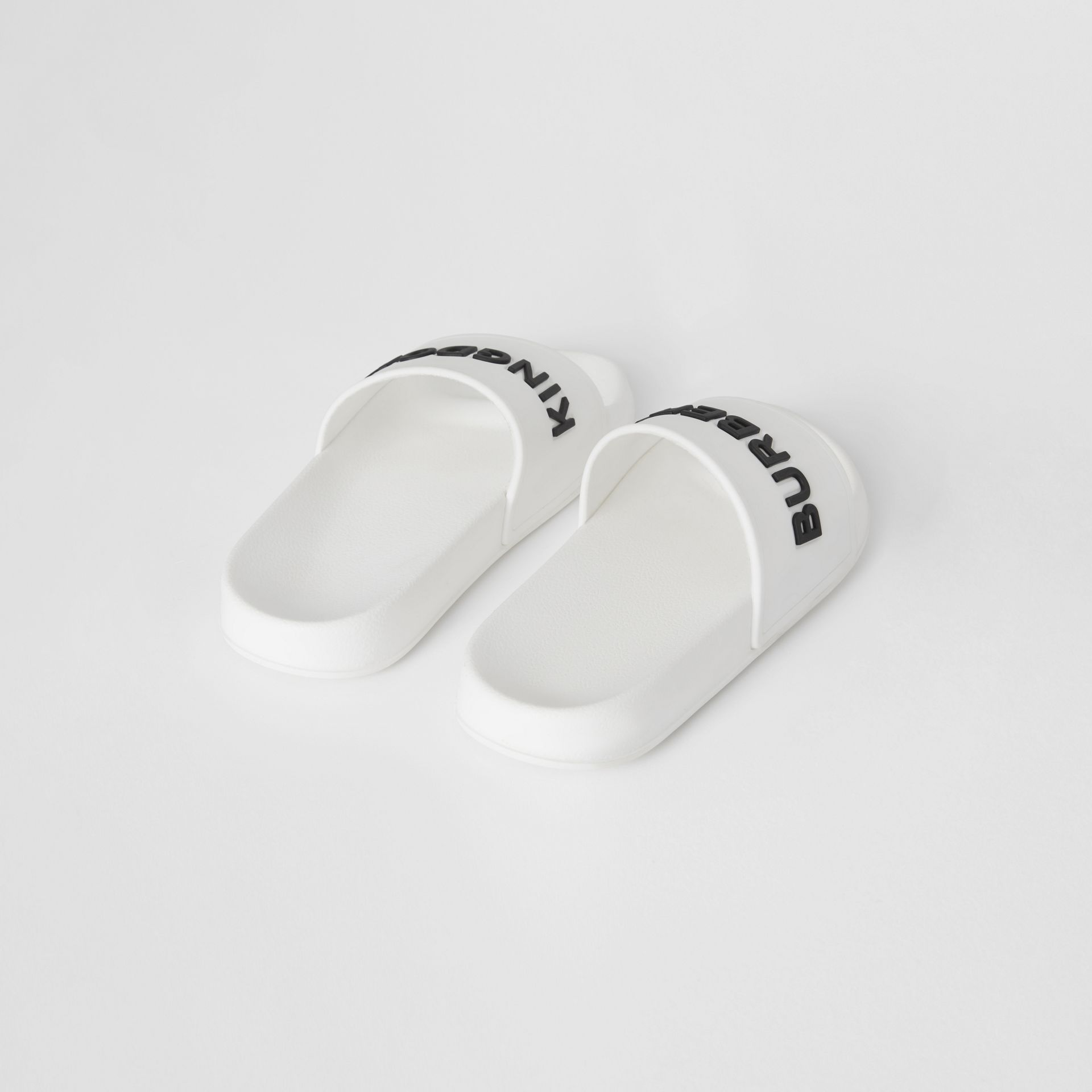 Kingdom Print Slides in Optic White/black - Children | Burberry United States - gallery image 2