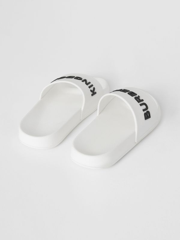Kingdom Motif Slides in Optic White/black - Children | Burberry Canada - cell image 2