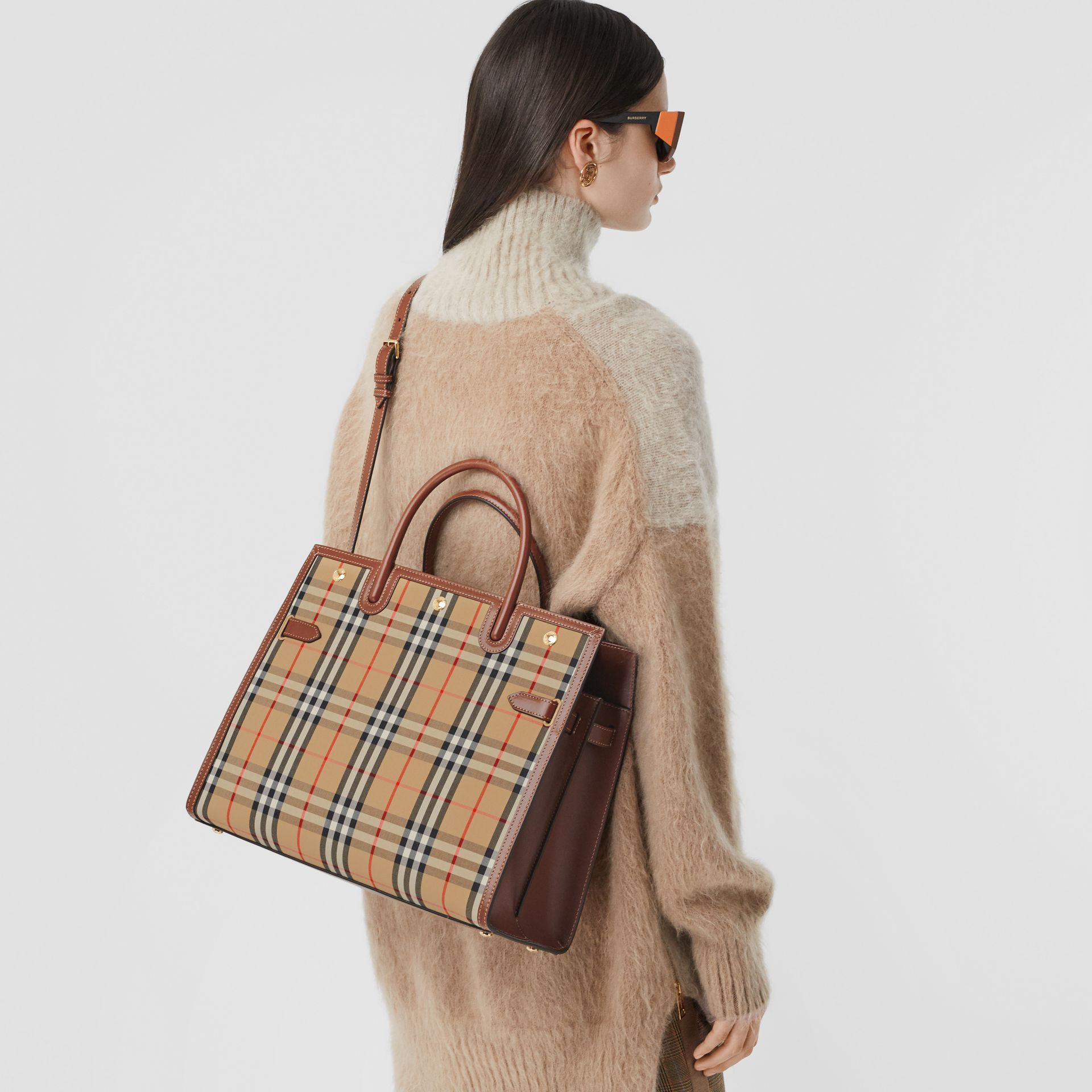 Medium Vintage Check Two-handle Title Bag in Archive Beige - Women | Burberry Canada - gallery image 2