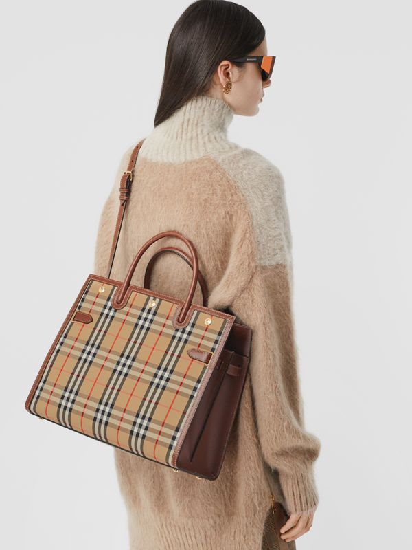 Medium Vintage Check Two-handle Title Bag in Archive Beige - Women | Burberry Canada - cell image 2