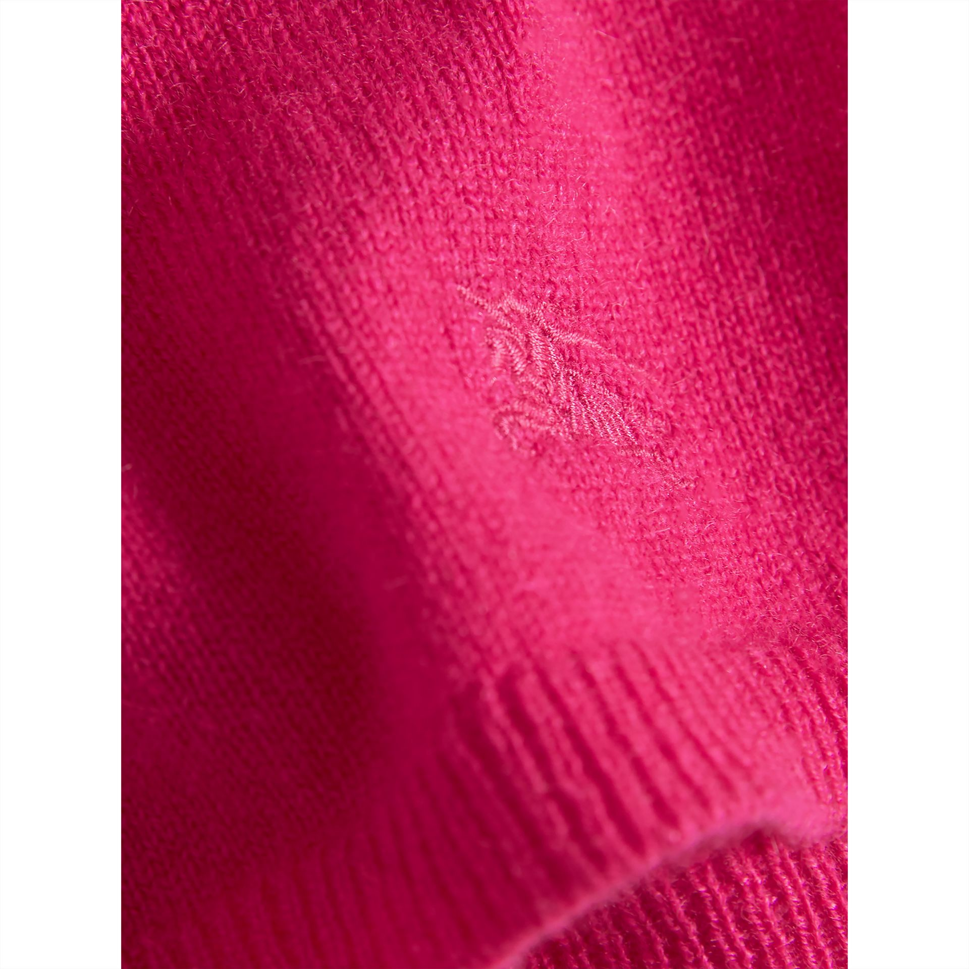 Check Cuff Knitted Cashmere Dress in Bright Crimson Pink | Burberry Singapore - gallery image 1