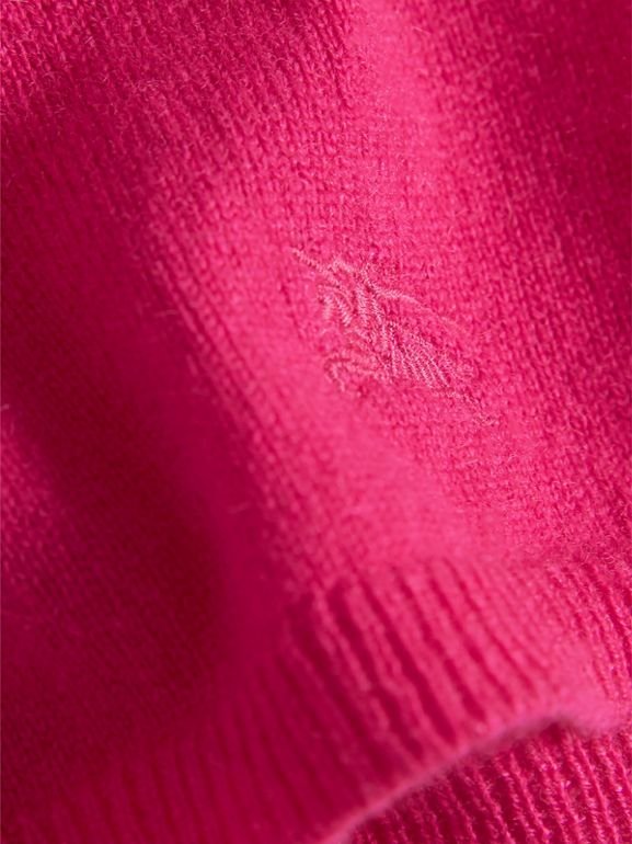Check Cuff Knitted Cashmere Dress in Bright Crimson Pink | Burberry - cell image 1