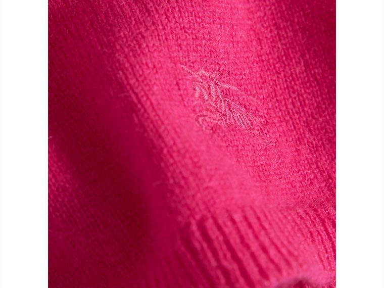 Check Cuff Knitted Cashmere Dress in Bright Crimson Pink | Burberry Singapore - cell image 1