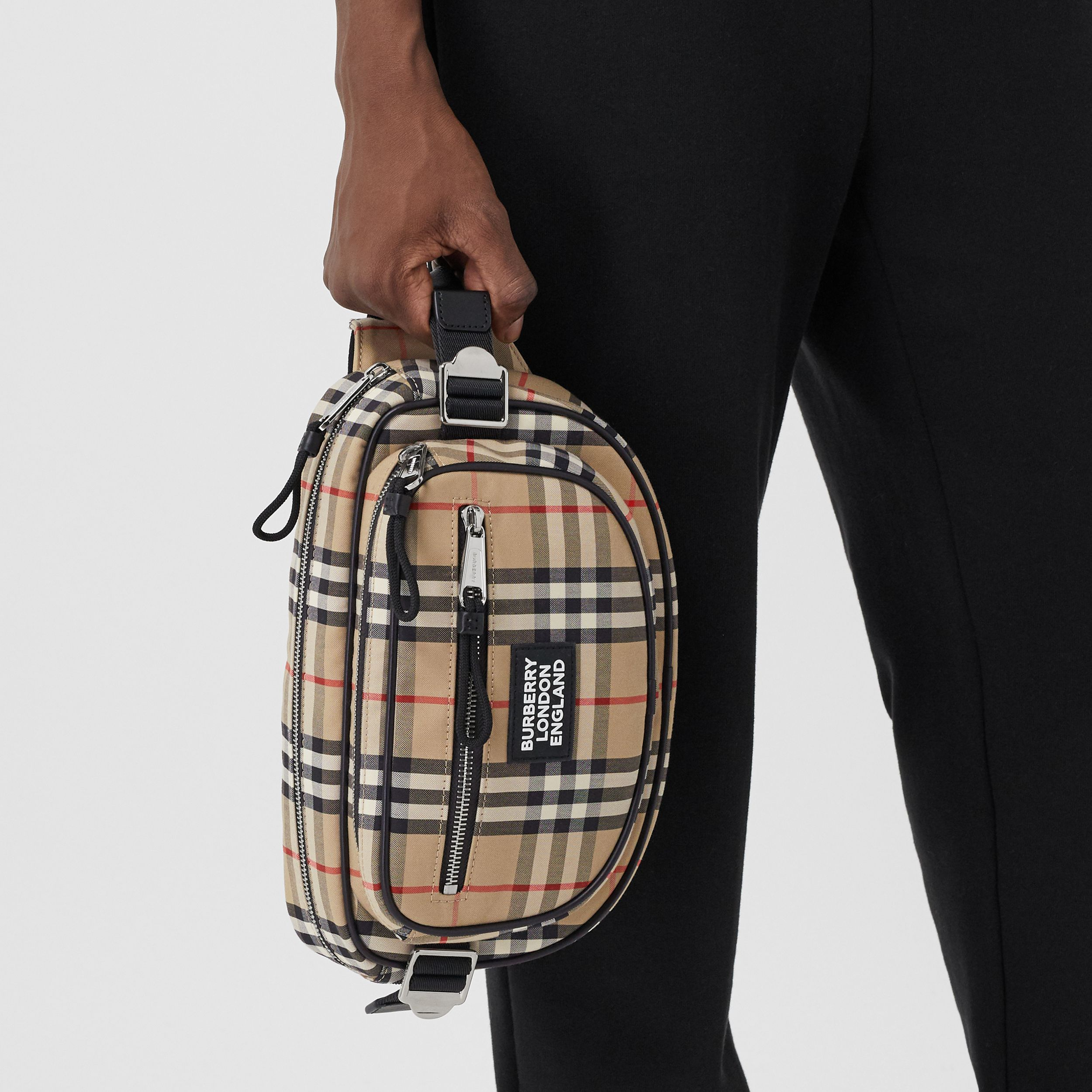 Medium Vintage Check Cotton Cannon Bum Bag in Archive Beige - Men | Burberry United Kingdom - 3