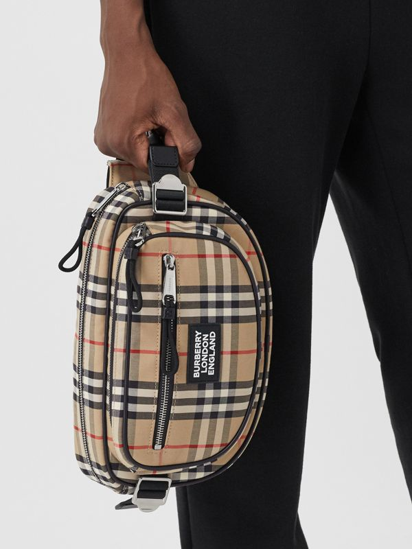 Medium Vintage Check Cotton Cannon Bum Bag in Archive Beige - Men | Burberry - cell image 2