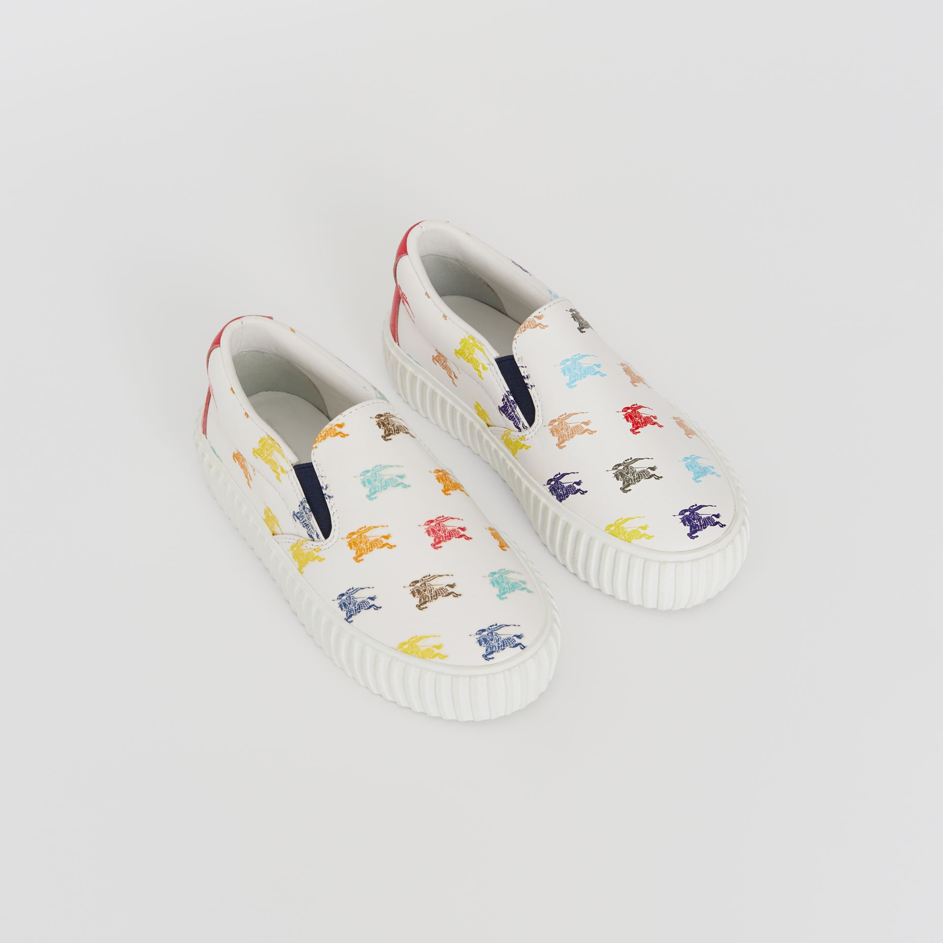 EKD Leather Slip-on Sneakers in Optic White - Children | Burberry United Kingdom - gallery image 0