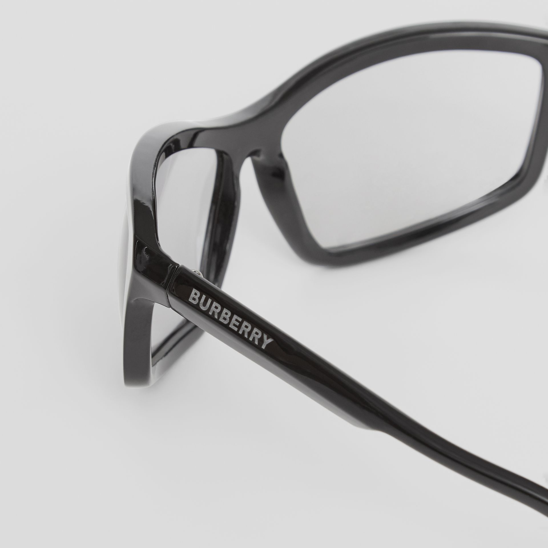 Wrap Frame Sunglasses in Black - Men | Burberry Singapore - gallery image 1