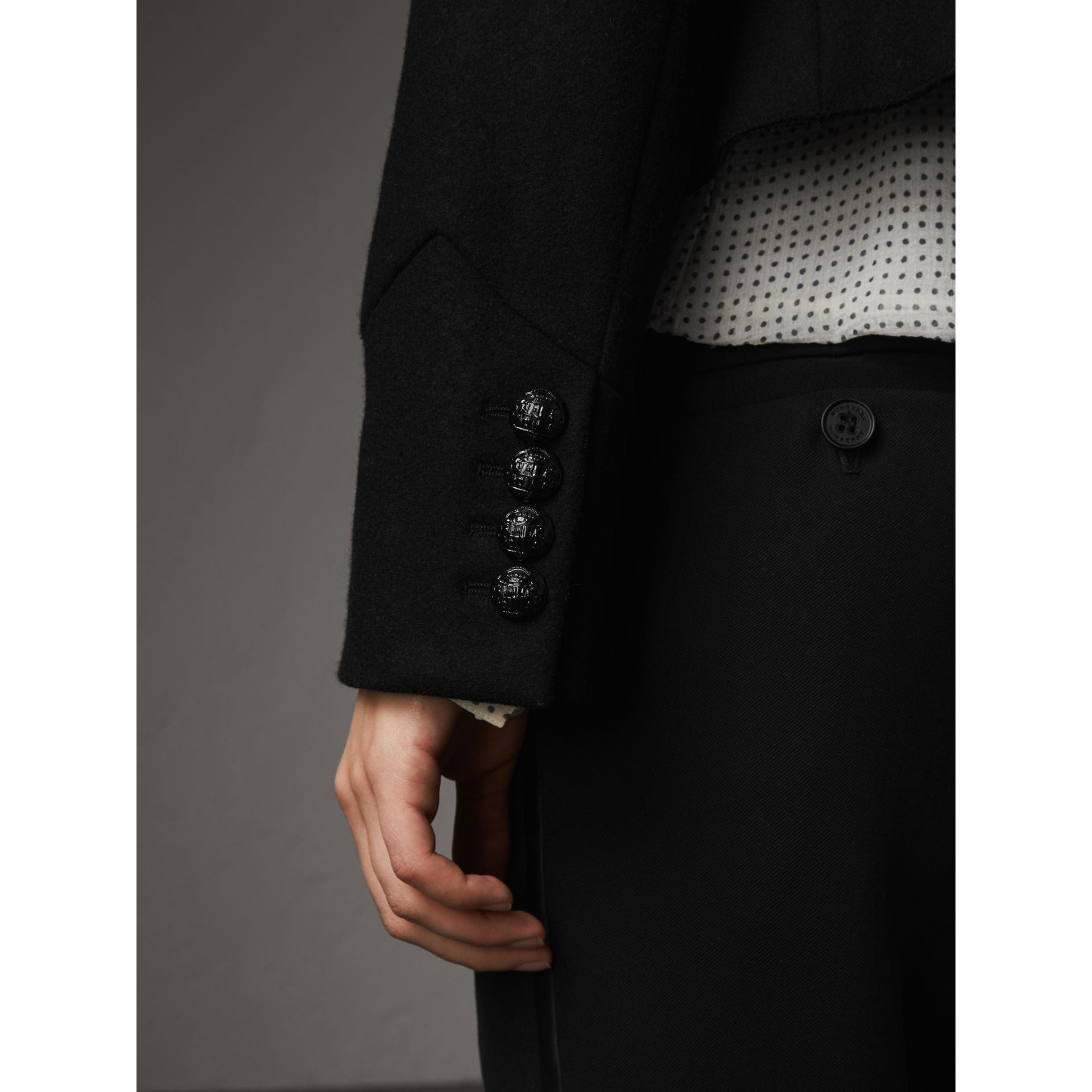 Wool Blend Military Jacket in Black - Women | Burberry - gallery image 4