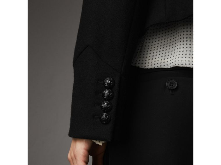 Wool Blend Military Jacket in Black - Women | Burberry - cell image 4