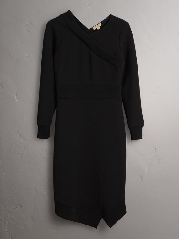 Ribbed Trim Crepe Asymmetric Dress in Black - Women | Burberry - cell image 3