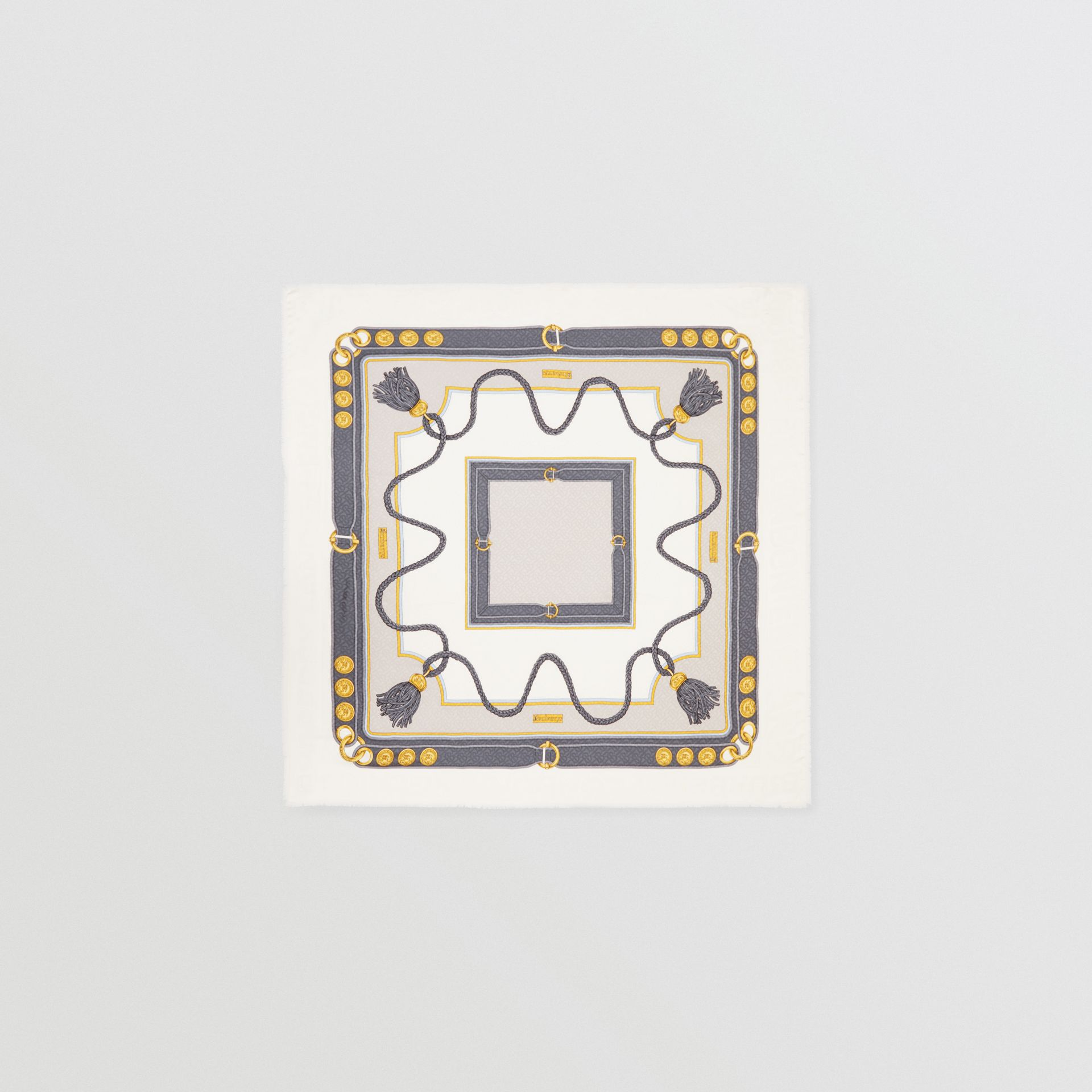 典藏圍巾印花絲綢羊毛大型方巾 (灰色) | Burberry - 圖庫照片 0