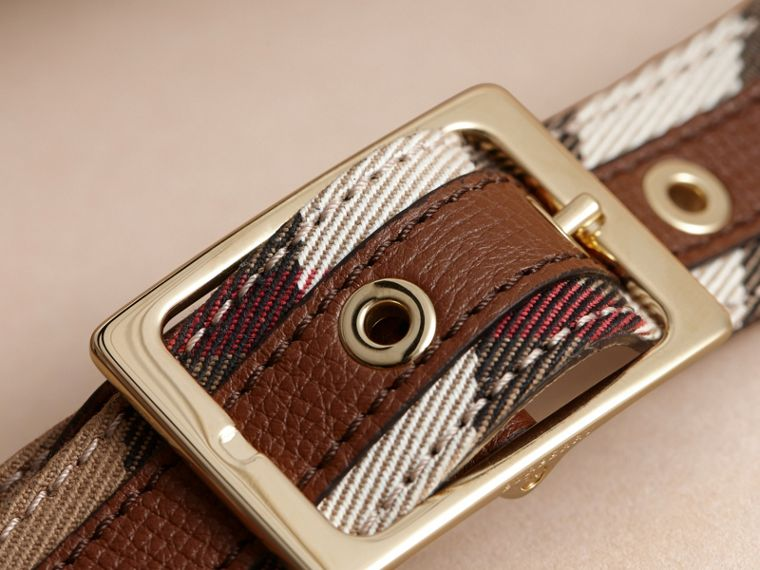 House Check and Grainy Leather Belt in Camel/tan - Women | Burberry - cell image 1