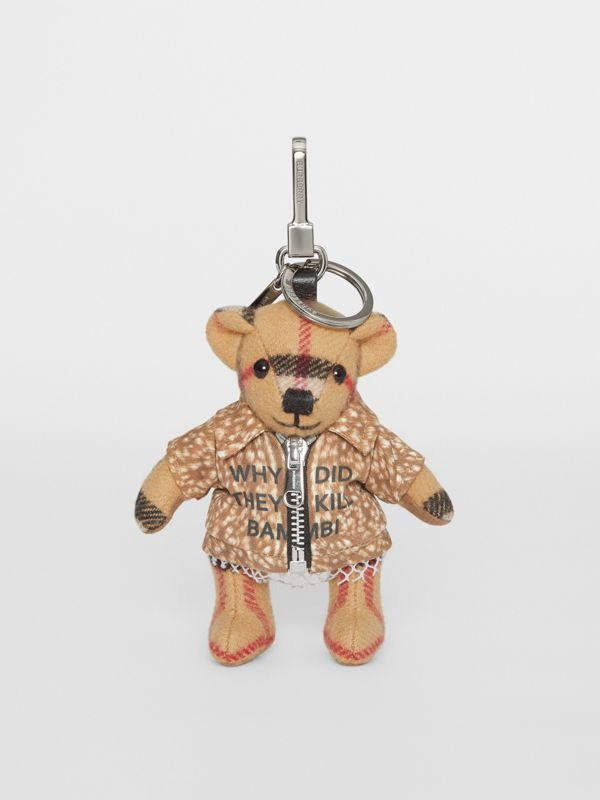 Thomas Bear Charm in Deer Print Coat in Antique Yellow | Burberry Canada - cell image 2