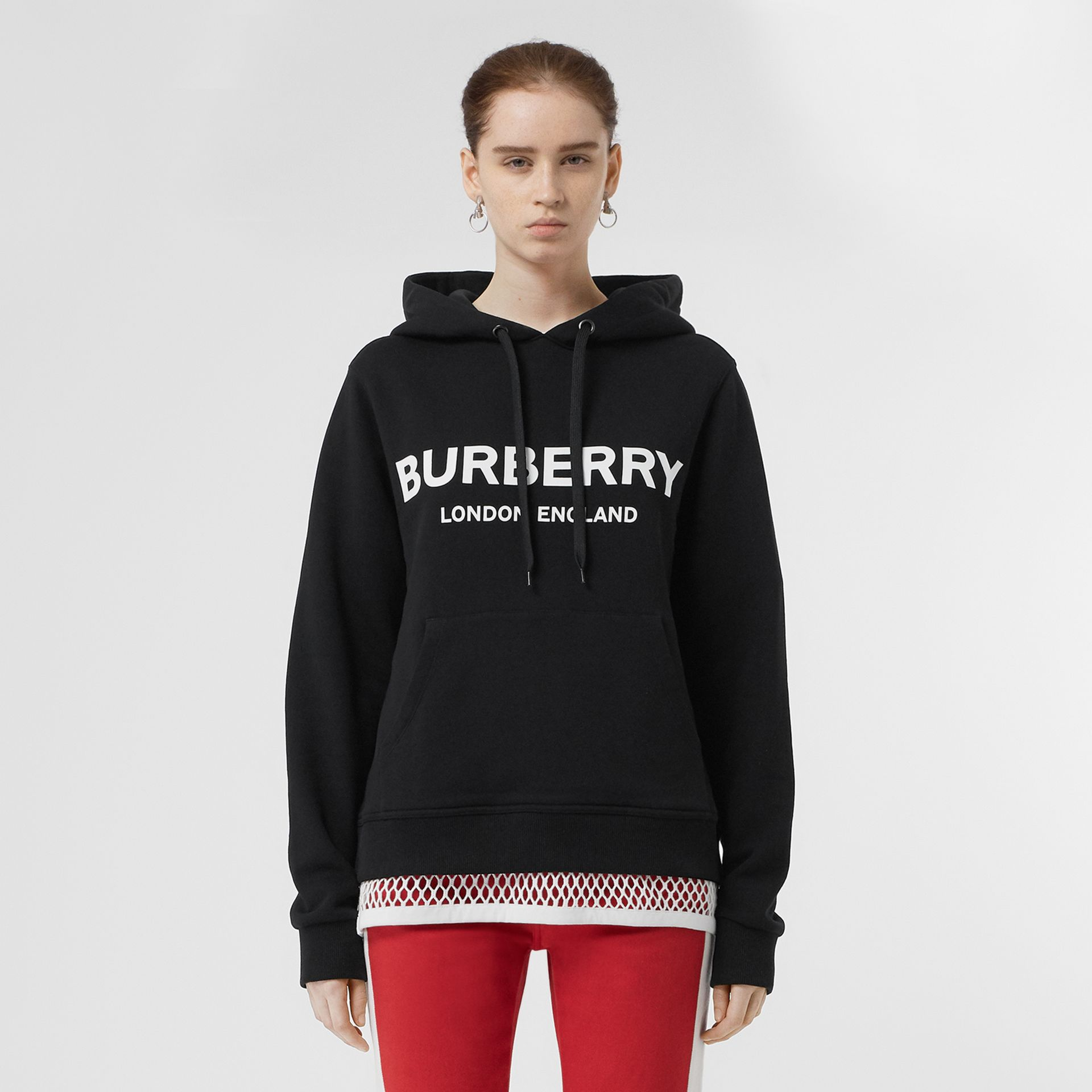 Logo Print Cotton Oversized Hoodie in Black - Women | Burberry - gallery image 5