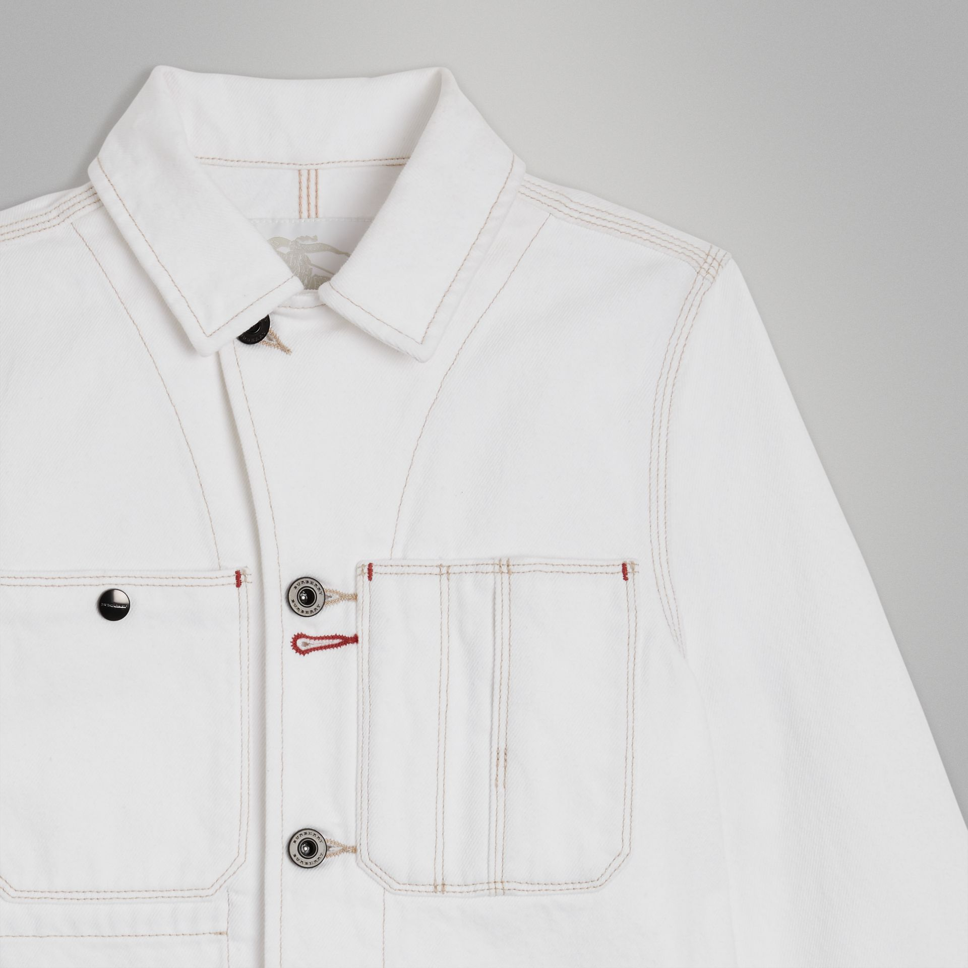 Topstitched Denim Jacket in Natural White | Burberry United Kingdom - gallery image 4