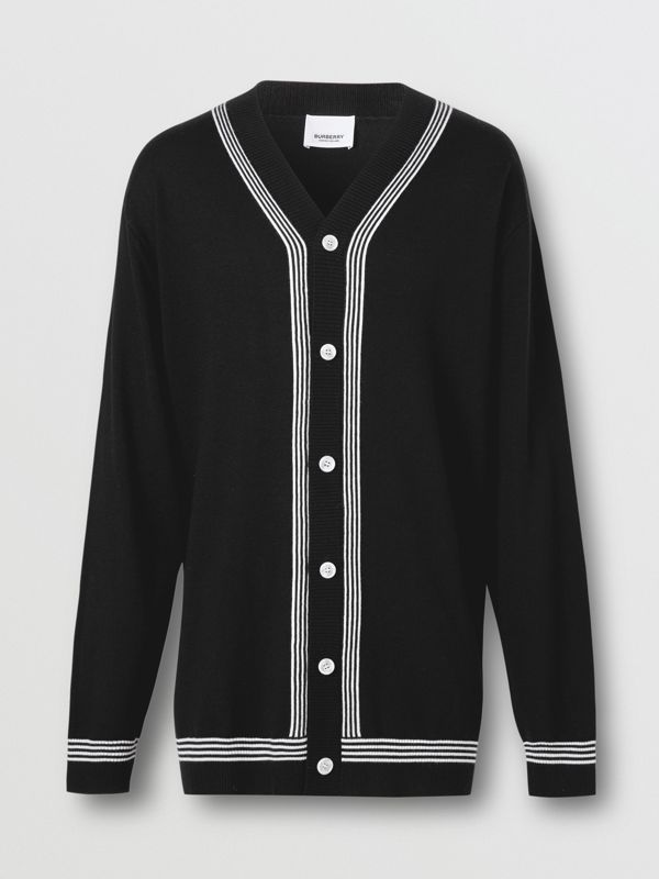 Stripe Detail Merino Wool Oversized Cardigan in Black - Men | Burberry - cell image 3