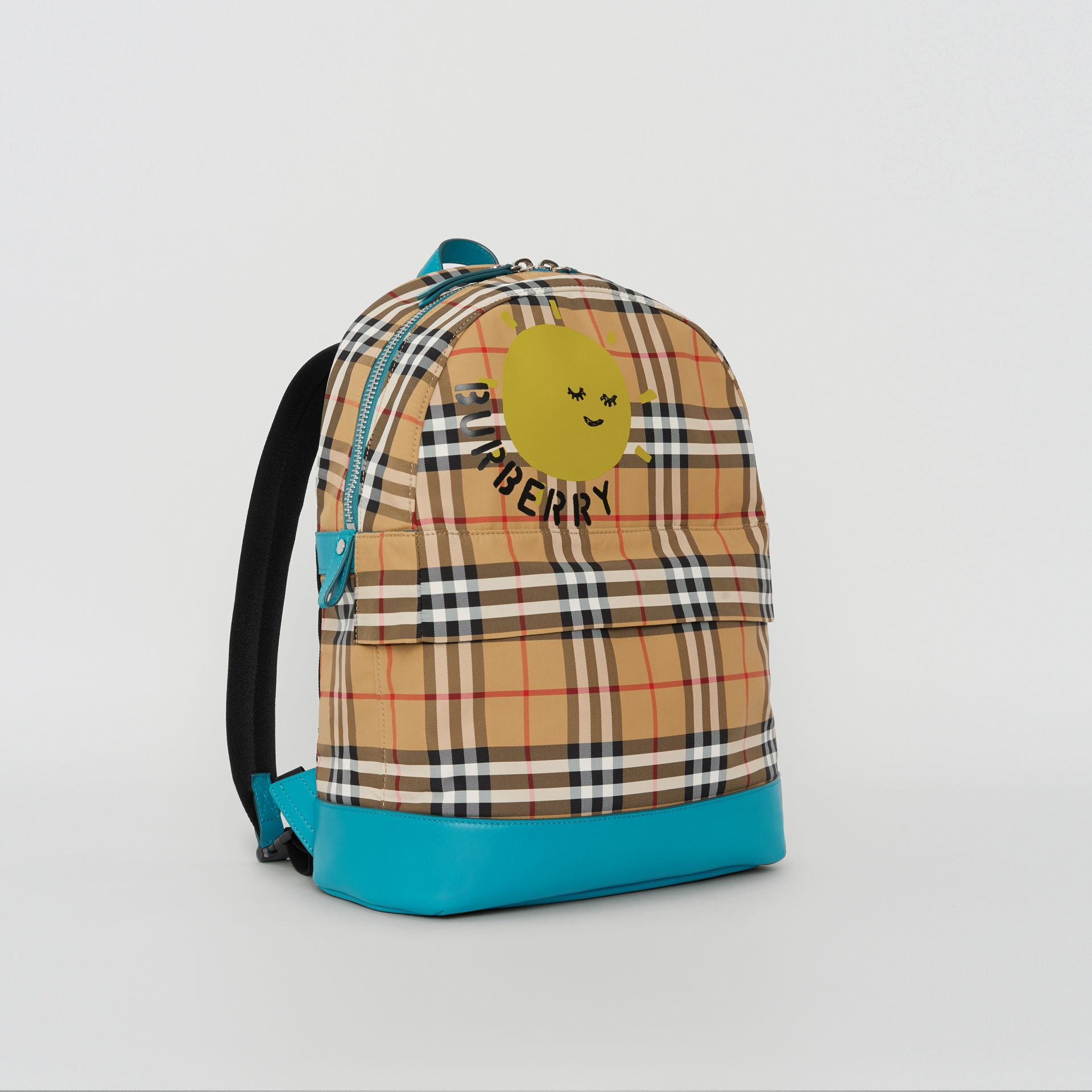 Sun Print Vintage Check Nylon Backpack in Antique Yellow - Children | Burberry Australia - gallery image 4