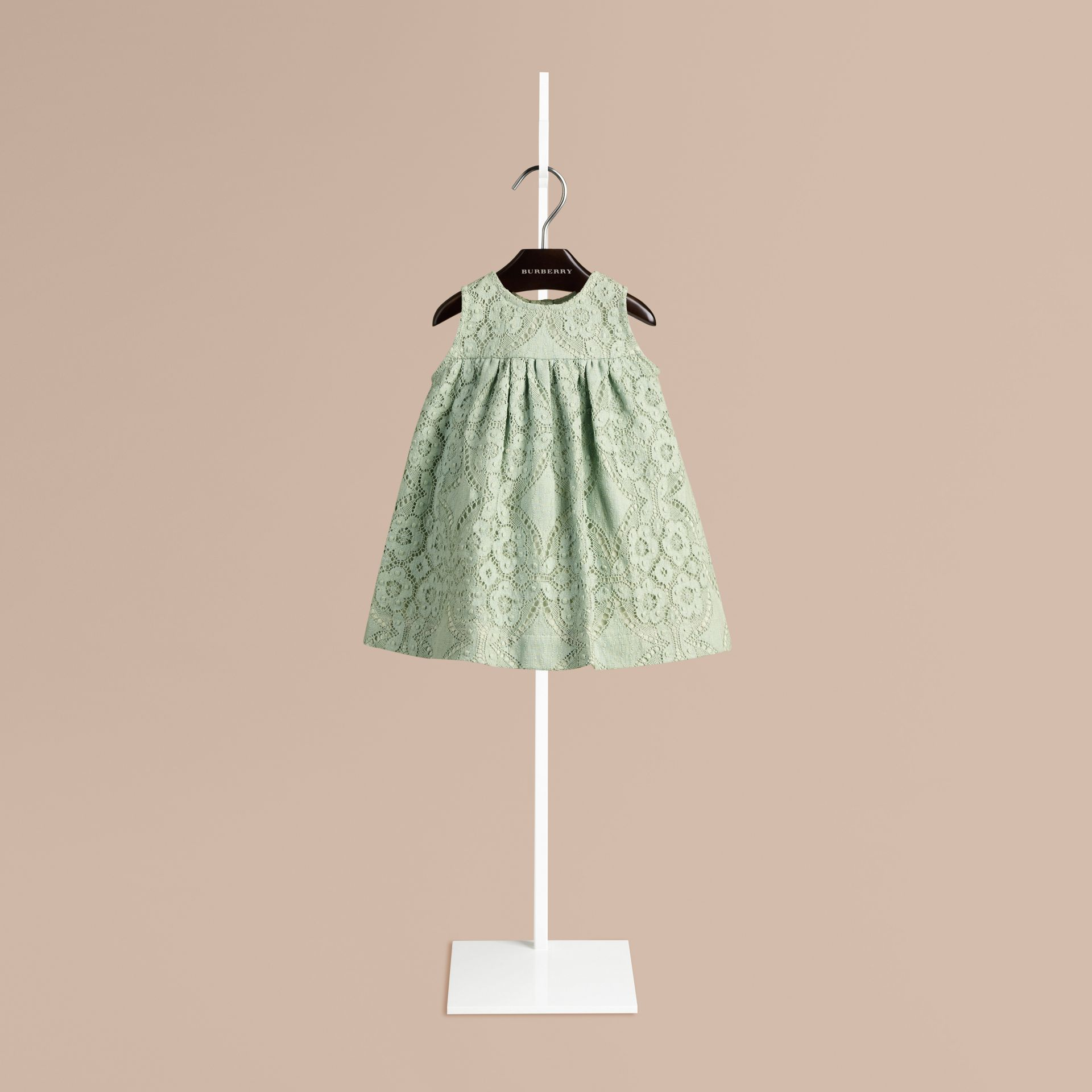 Pastel green English Lace A-line Sleeveless Dress Pastel Green - gallery image 1