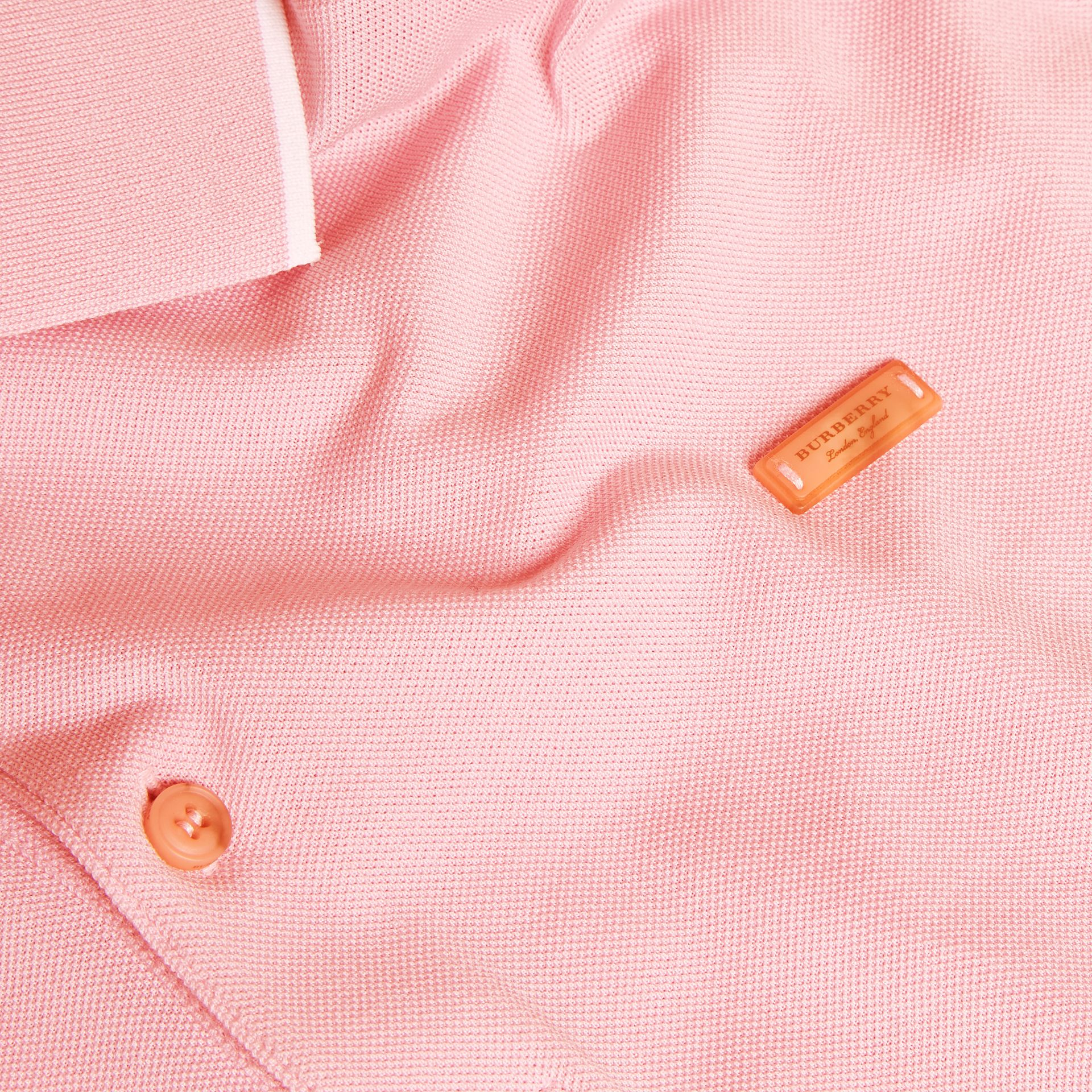 Tipped Collar Cotton Piqué Polo Shirt in Light Pink - gallery image 2