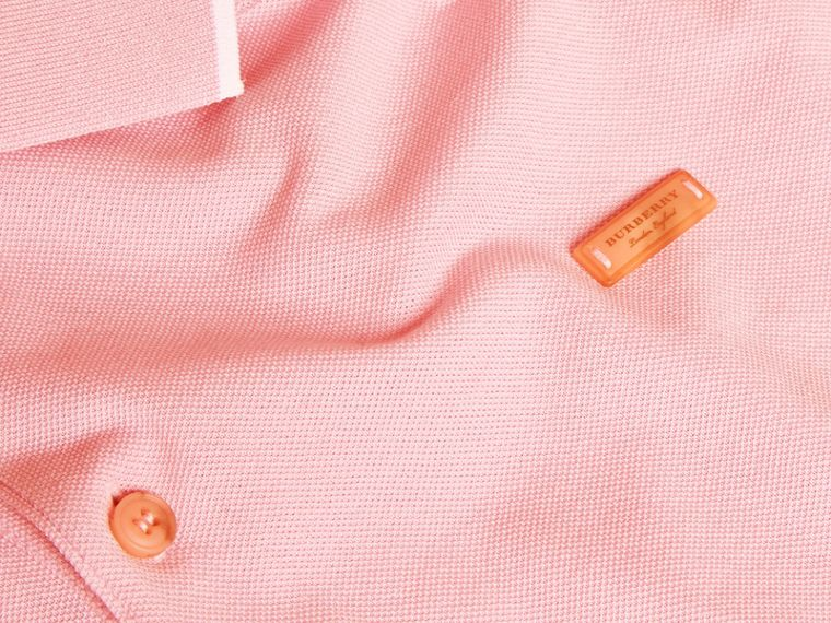 Tipped Collar Cotton Piqué Polo Shirt in Light Pink - cell image 1