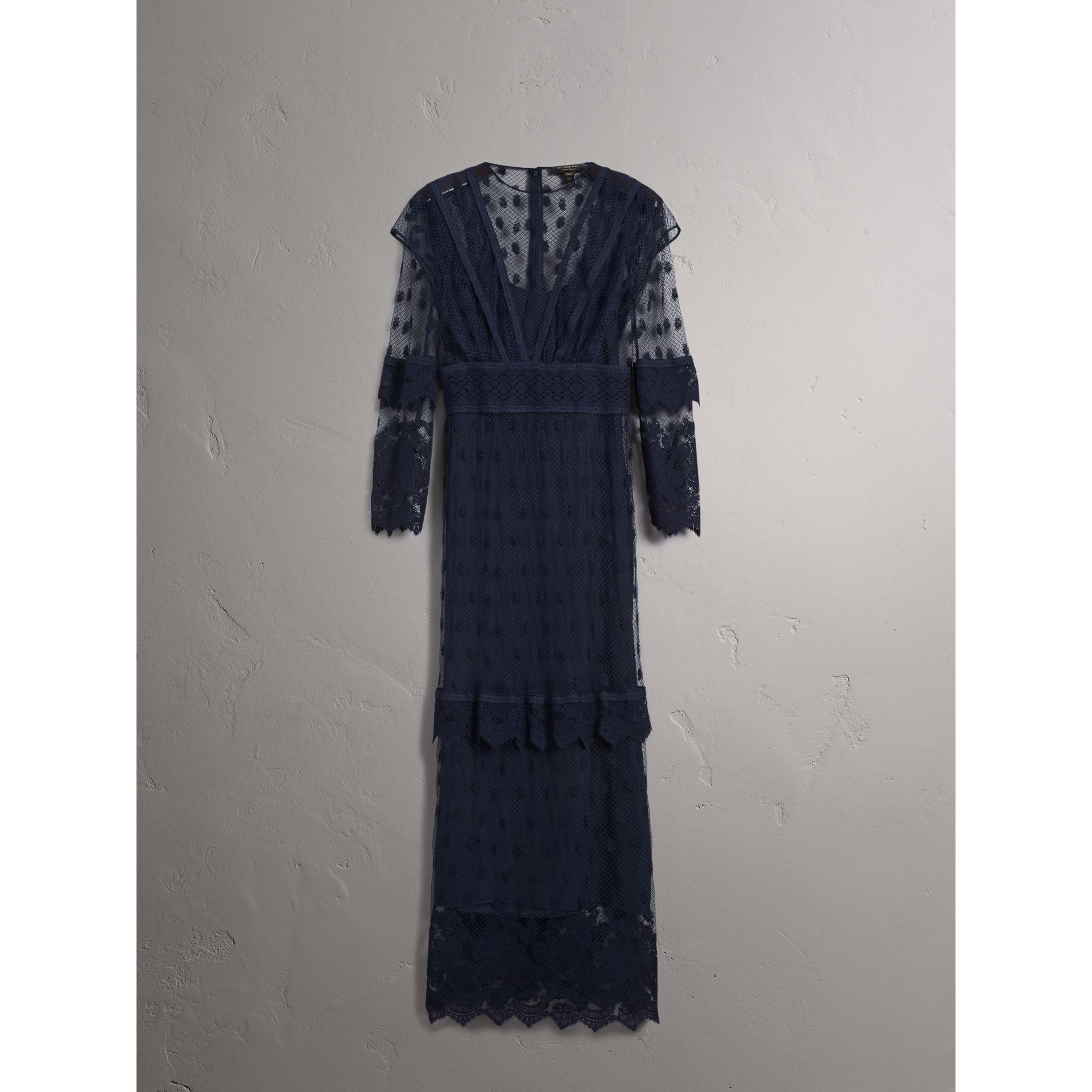 Embroidered Tulle Panel Dress in Navy - Women | Burberry Singapore - gallery image 4