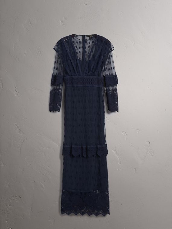 Embroidered Tulle Panel Dress in Navy - Women | Burberry Singapore - cell image 3