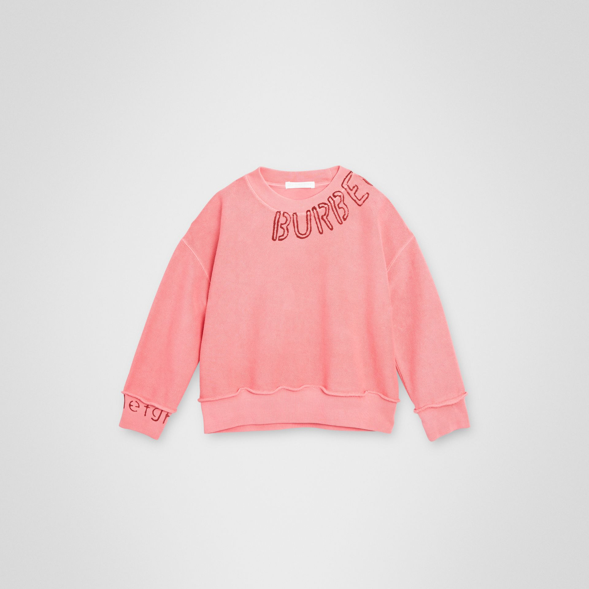 Stencil Logo Print Cotton Sweatshirt in Bright Pink | Burberry United Kingdom - gallery image 0