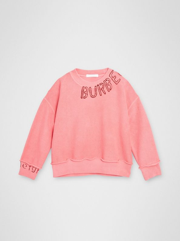 Stencil Logo Print Cotton Sweatshirt in Bright Pink