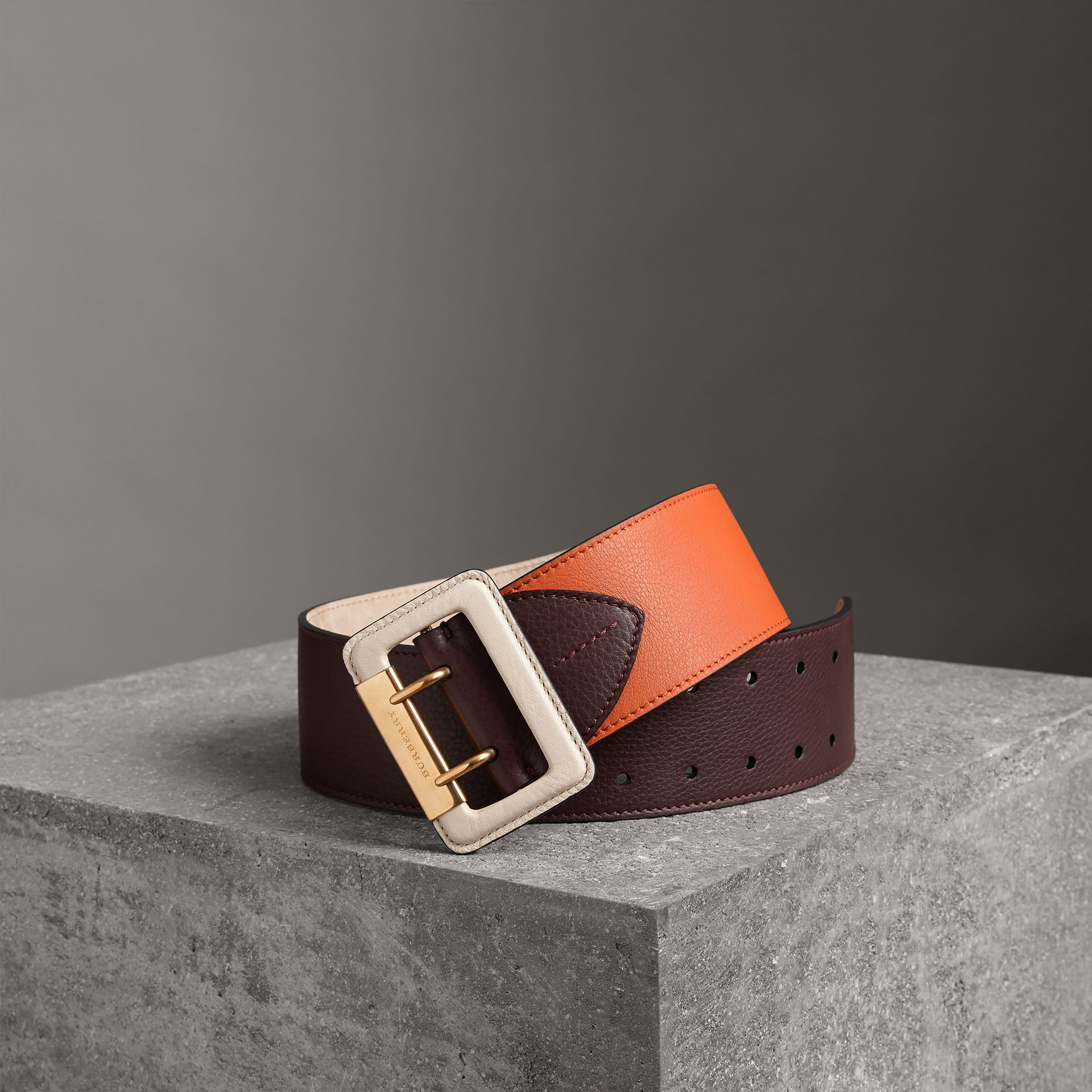 Colour Block Grainy Leather Belt in Deep Claret/clementine - Women | Burberry United Kingdom - gallery image 0