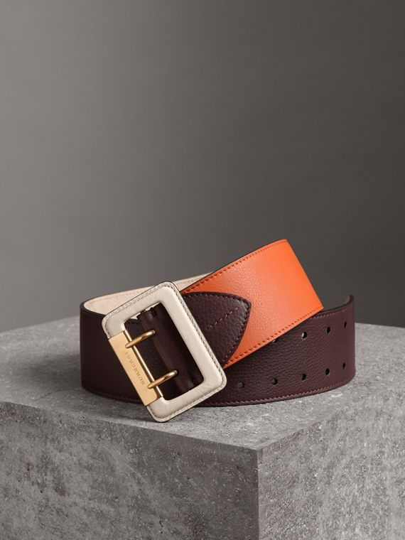 Colour Block Grainy Leather Belt in Deep Claret/clementine