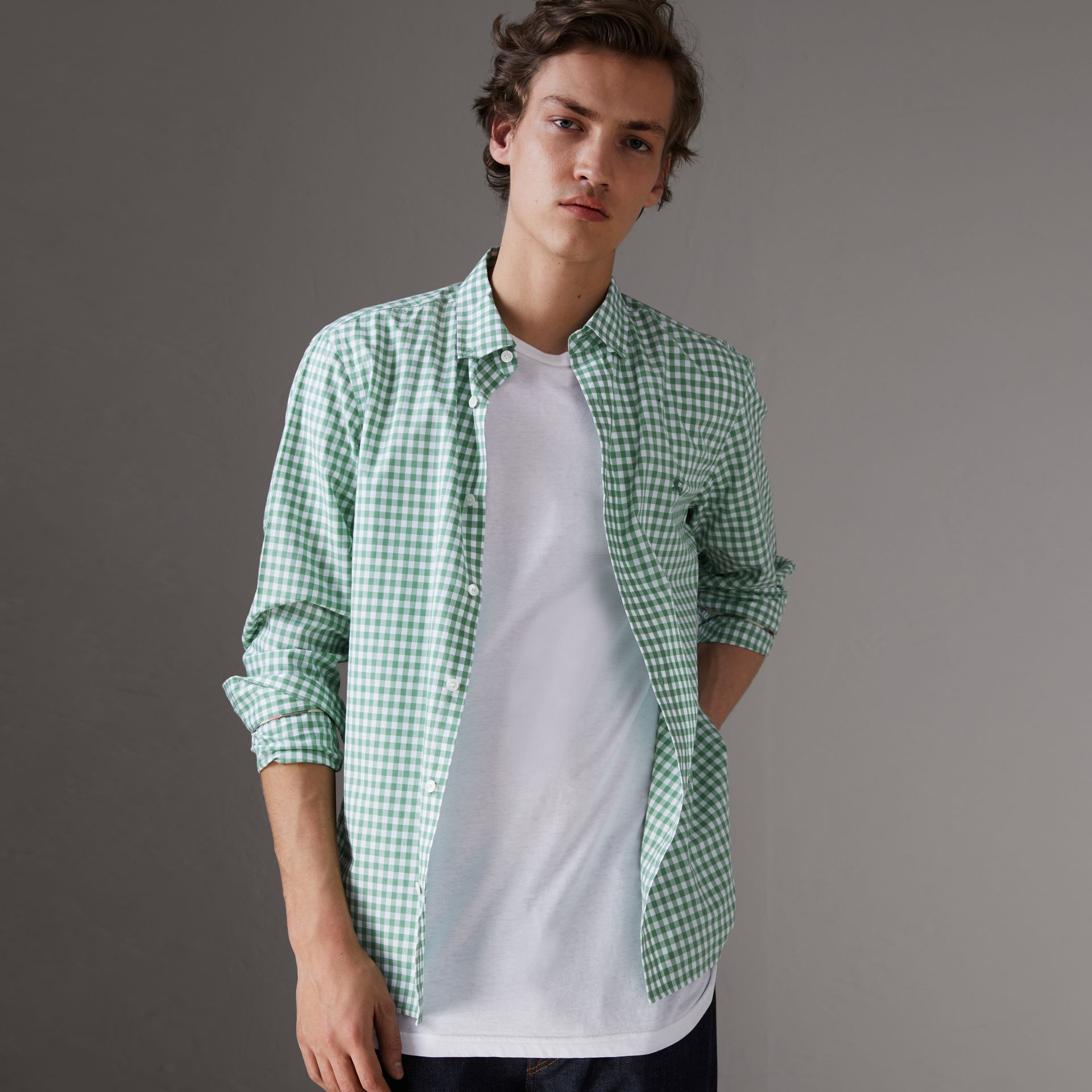 Button-down Collar Gingham Cotton Shirt in Pale Tourmaline - Men | Burberry United Kingdom - gallery image 0