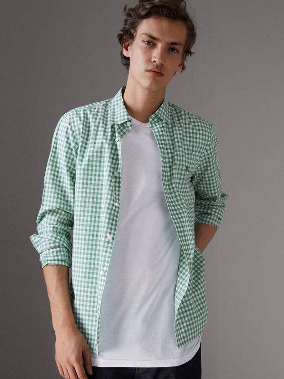 Button-down Collar Gingham Cotton Shirt in Pale Tourmaline