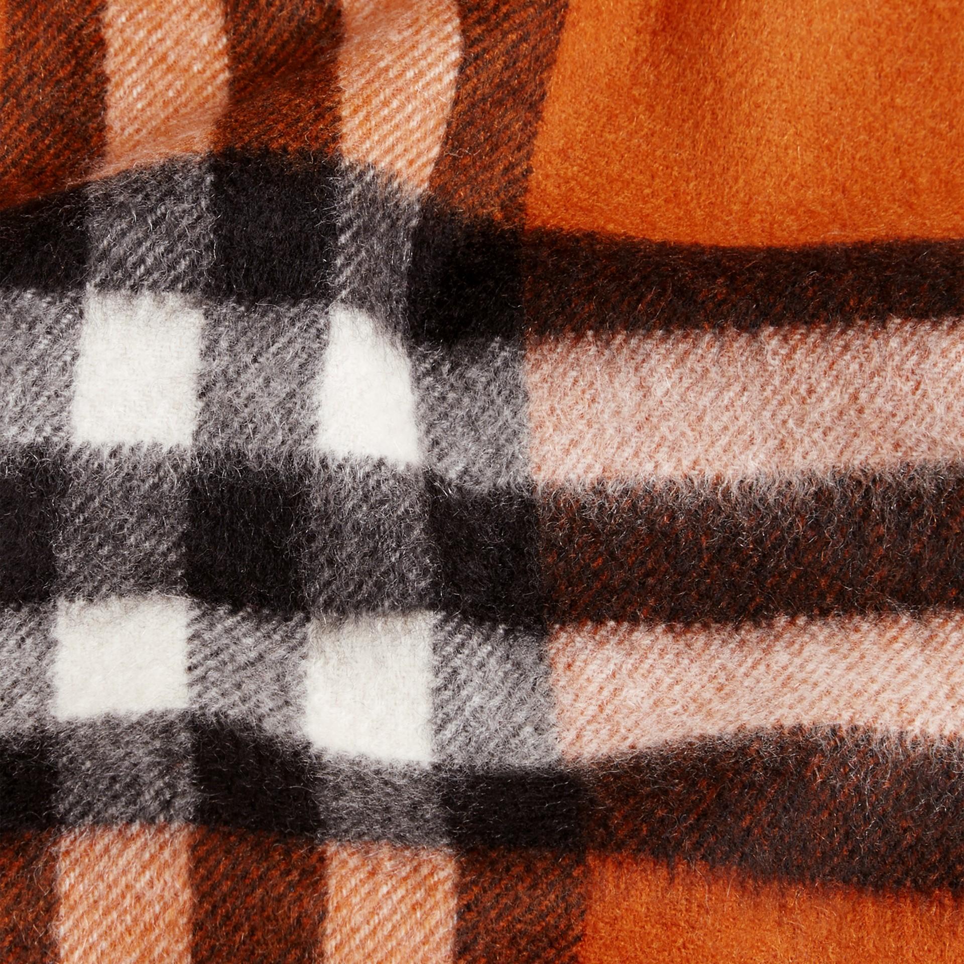 Burnt orange The Mini Classic Cashmere Scarf in Check Burnt Orange - gallery image 4