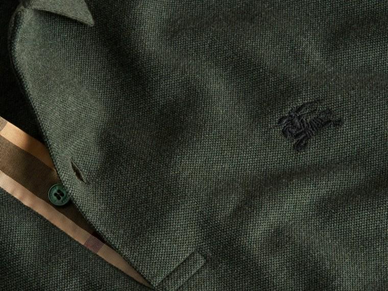 Camaïeu de verts racing Polo en piqué de coton avec patte à motif check Camaïeu  Verts Racing - cell image 1