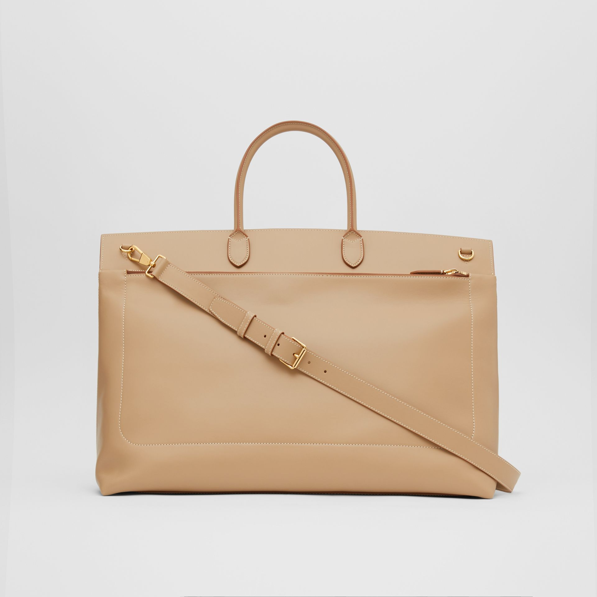 Extra Large Leather Society Top Handle Bag in Honey - Men | Burberry - gallery image 5
