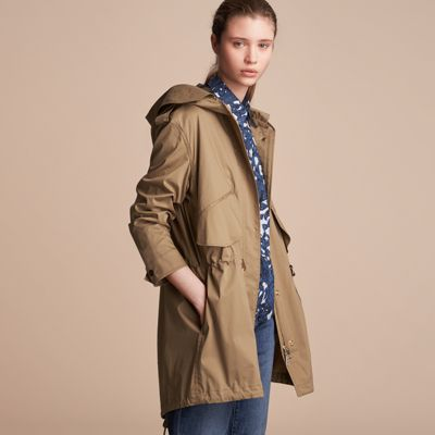 Hooded Water-resistant Parka in Flax Brown - Women   Burberry ...