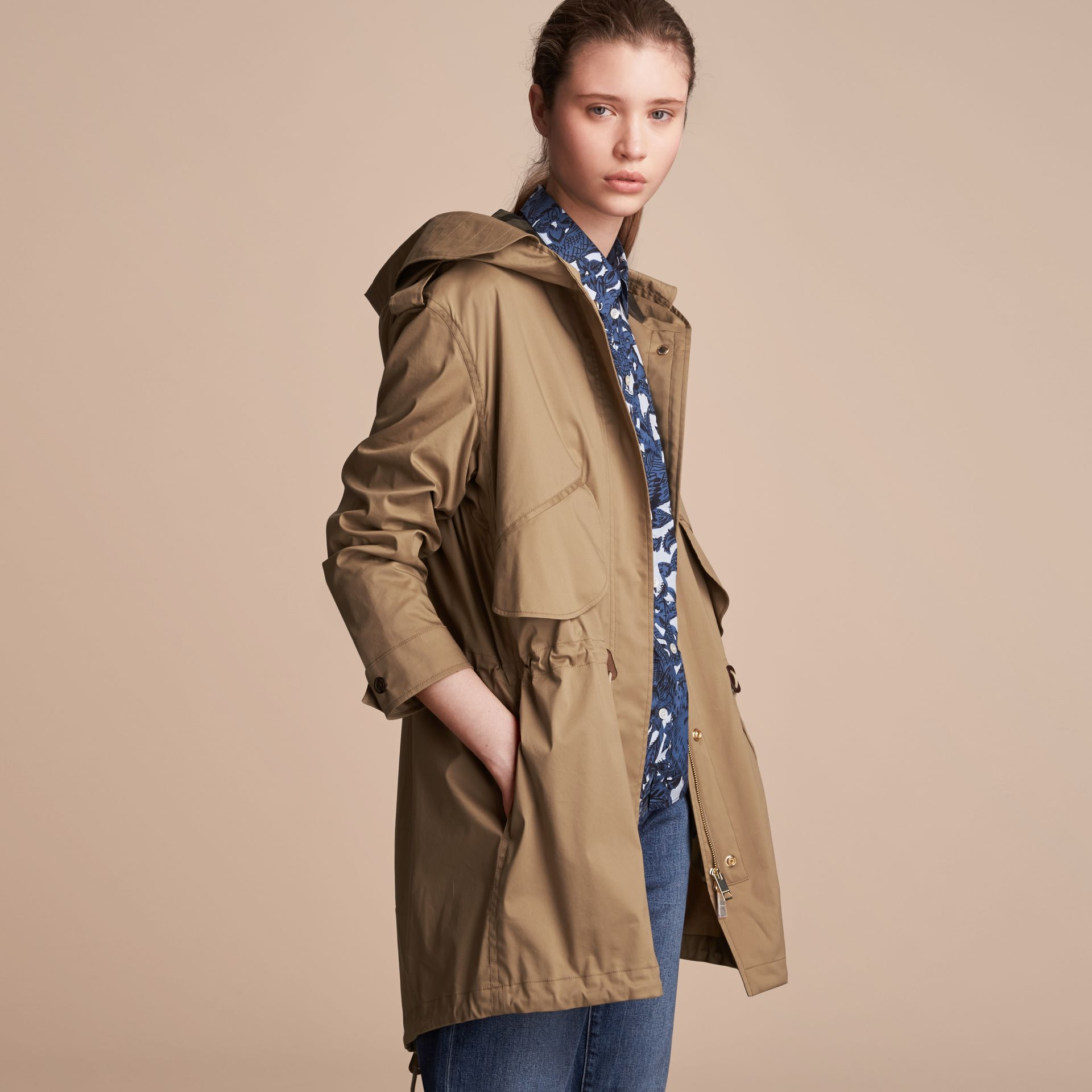 Hooded Water-resistant Parka in Flax Brown - Women | Burberry United States - gallery image 6