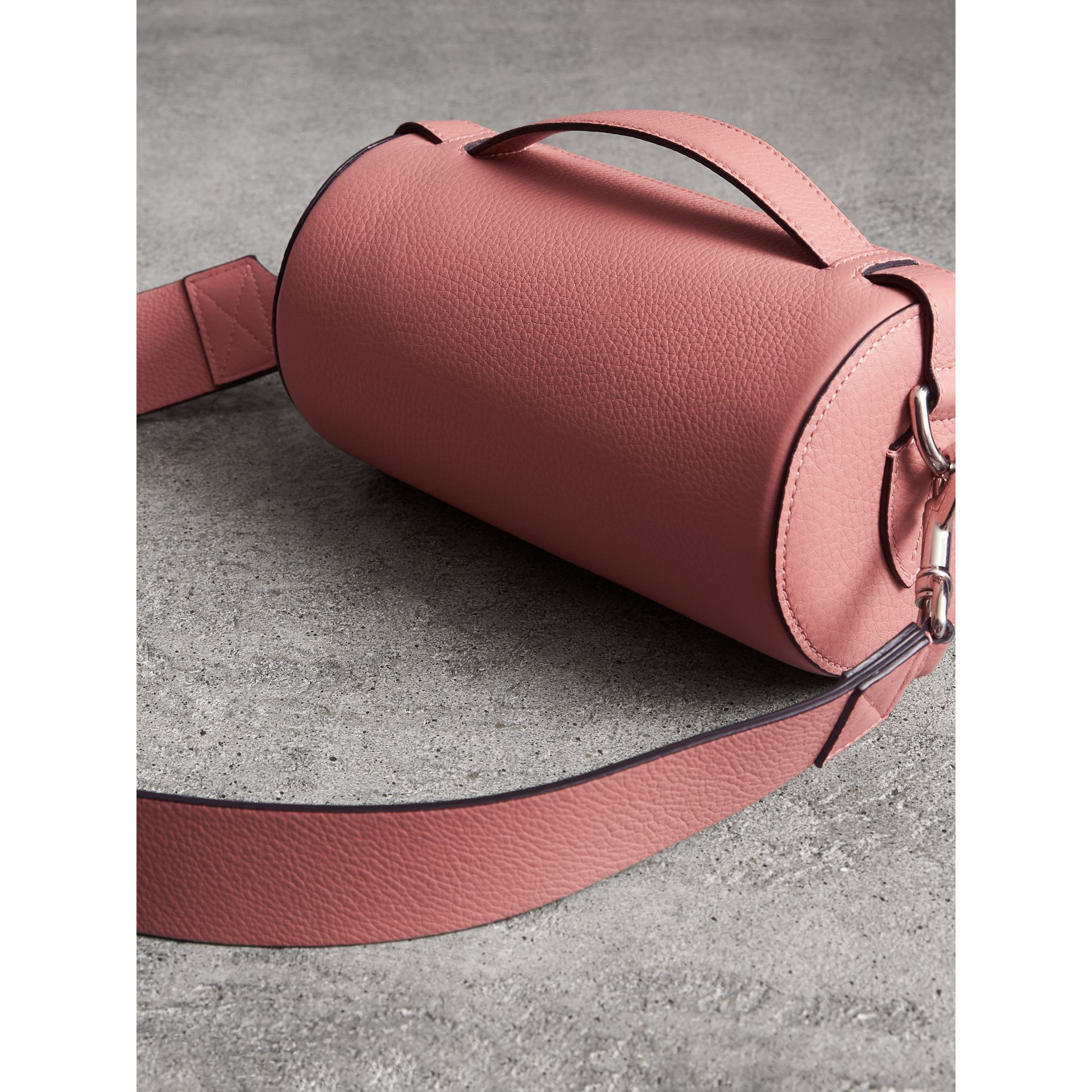 The Leather Barrel Bag in Dusty Rose - Women | Burberry - gallery image 4