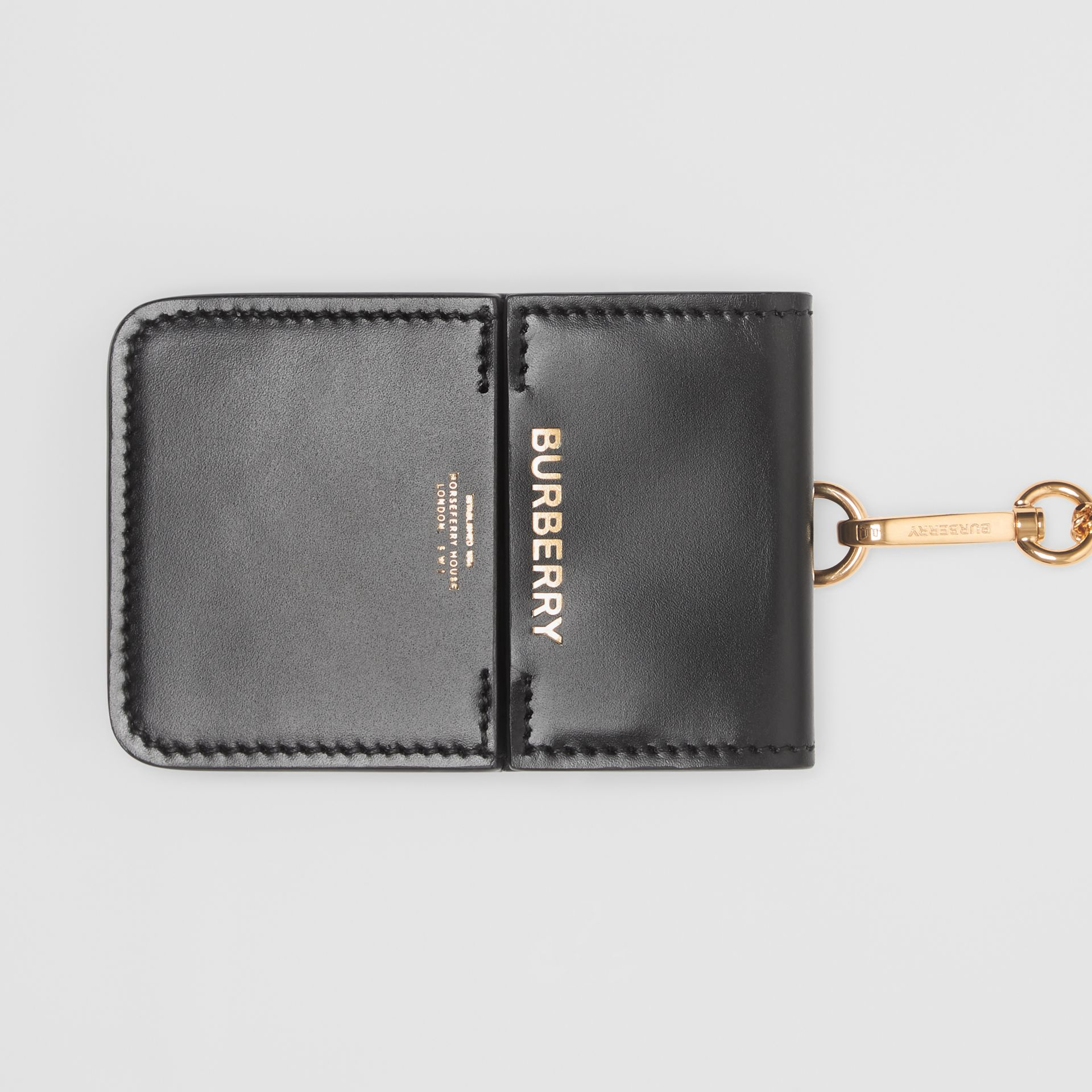 Horseferry Print Leather Card Case Lanyard in Black - Women | Burberry - gallery image 1