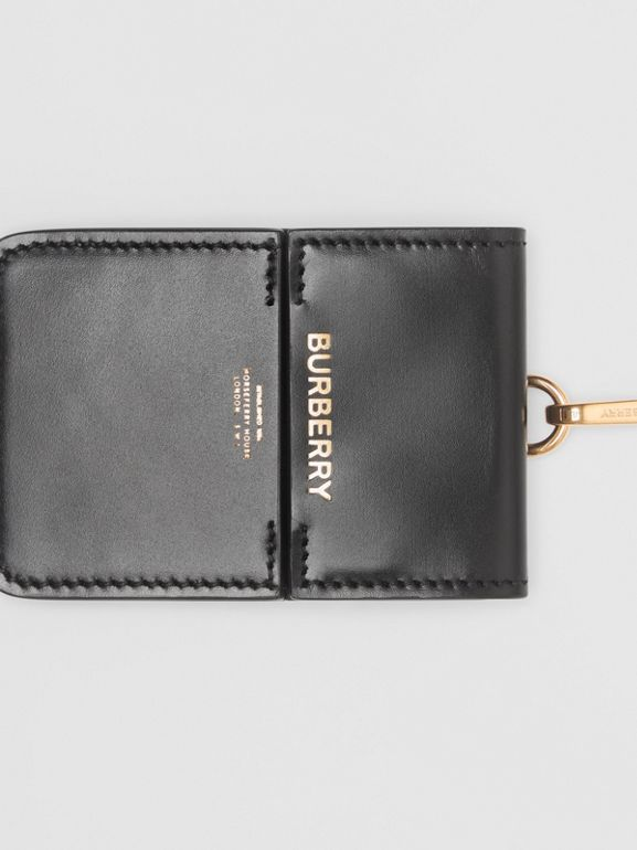 Horseferry Print Leather Card Case Lanyard in Black - Women | Burberry - cell image 1